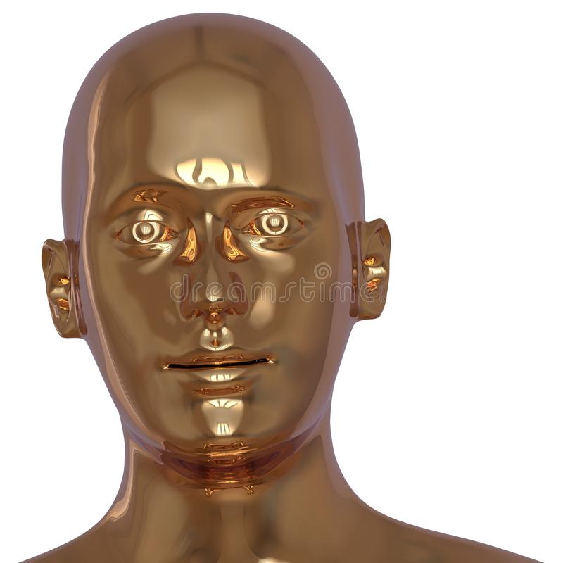 Portrait tiré principal du plan rapproché simple de visage d'homme de fer d'or illustration de vecteur