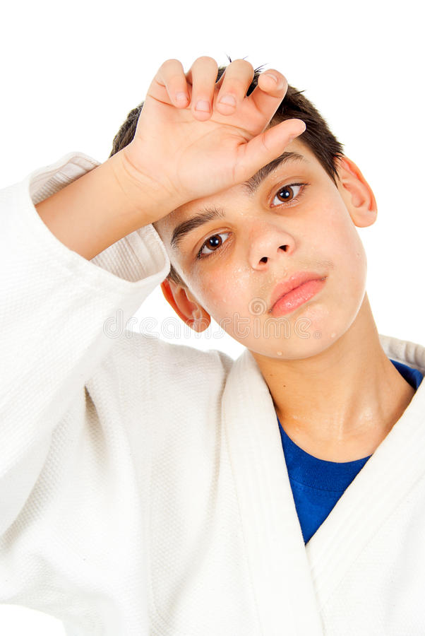 Download Portrait Of A Tired Guy Wipes The Sweat Stock Image - Image: 27903219