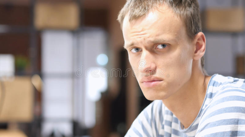 Portrait of Tired man, Indoor royalty free stock images