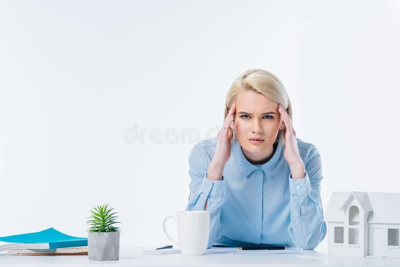portrait of tired real estate agent stock images
