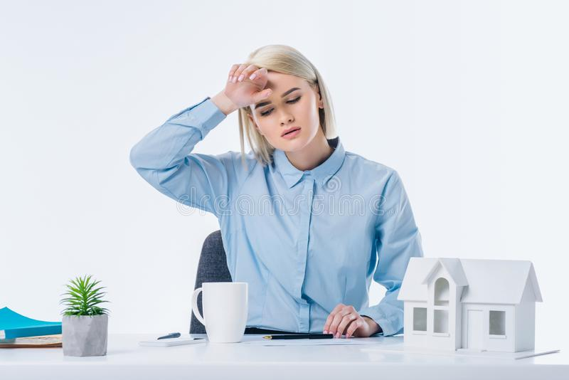 portrait of tired real estate agent royalty free stock photos