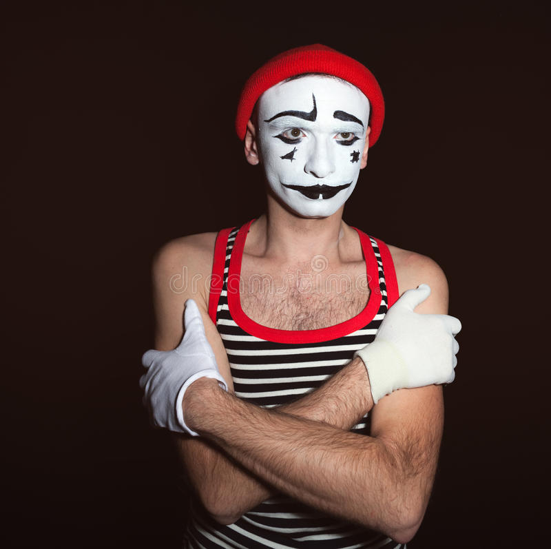 Portrait of a tired thoughtful mime stock images
