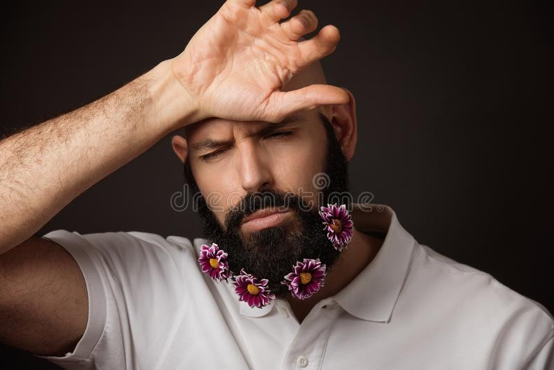 Portrait of tired unshaven man with beard and moustache with chrysanthemum flowers. On dark background stock photos