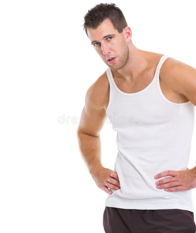 Portrait of tired after workout sports man stock images
