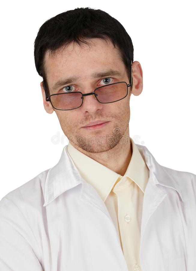 Portrait Of Tired Young Doctor On White Royalty Free Stock Image