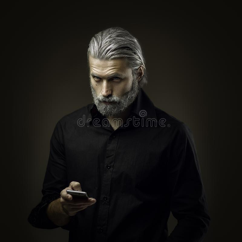 Portrait of tough old man royalty free stock photos