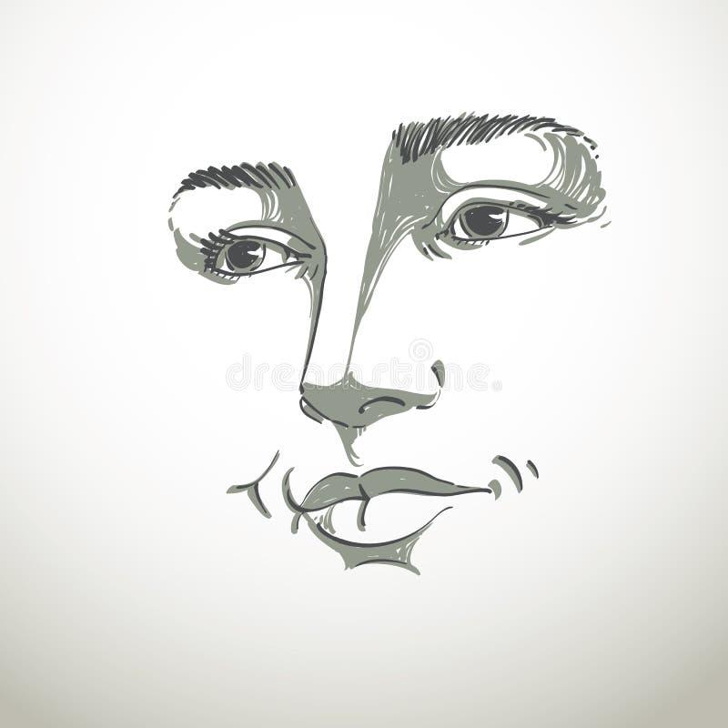 Portrait toujours de femme rêveuse belle sensible, noir illustration libre de droits