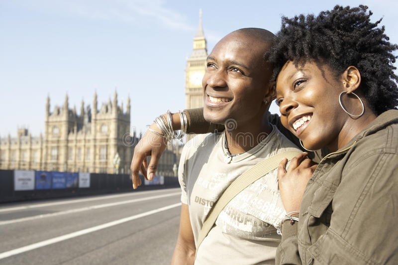 Portrait of tourist couple on Westminster. royalty free stock photo