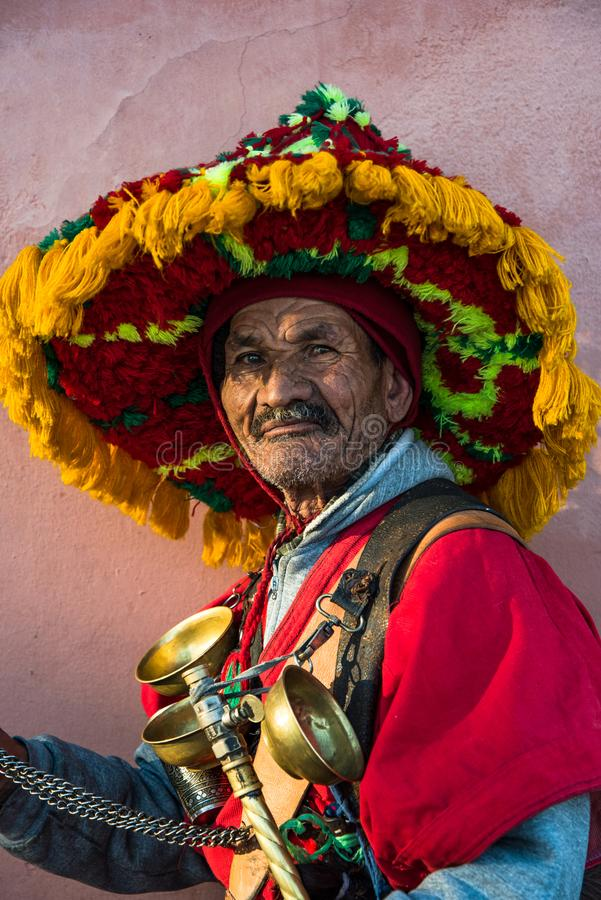 Portrait of traditional Berber water keeper on street royalty free stock photography