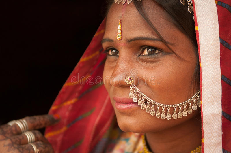 Portrait of traditional Indian female in saree stock image