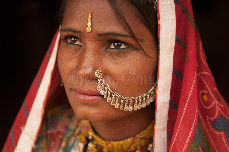 Portrait of traditional Indian female thinking stock images