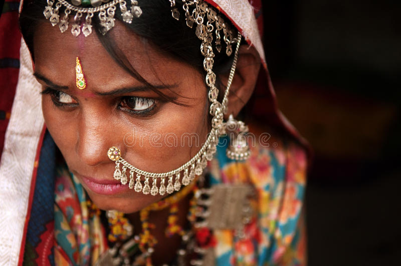 Portrait of Traditional Indian woman royalty free stock images