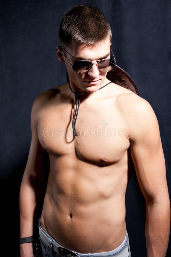 Portrait of trendy attractive man with glasses royalty free stock photos