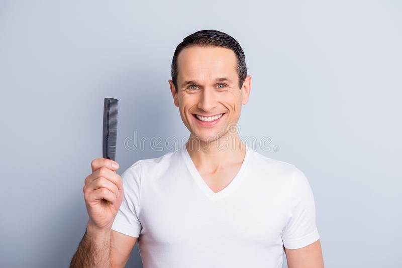 Portrait of trendy, stylish, experienced, brunet, neat man with royalty free stock image