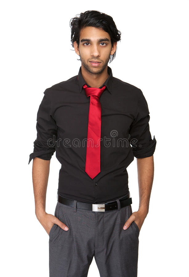 Portrait Of A Trendy Young Man In Black Shirt And Tie Stock Image ...