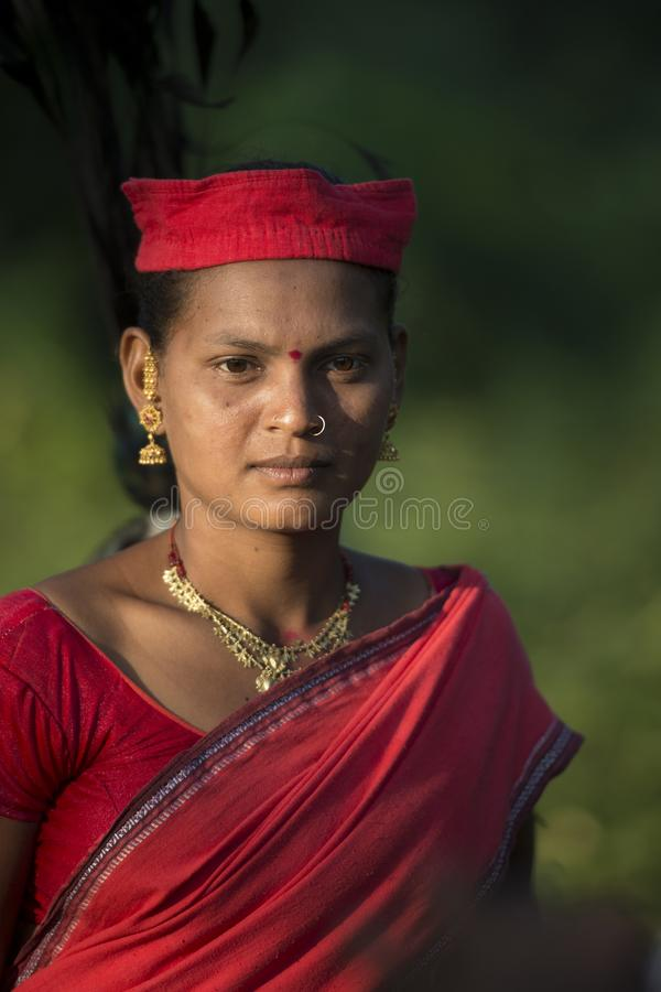 Portrait of a Tribal lady with Traditional Headgear attending Procession during Dussera Festival at Jagdalpur,Chhattisgarh,India. Asia stock image