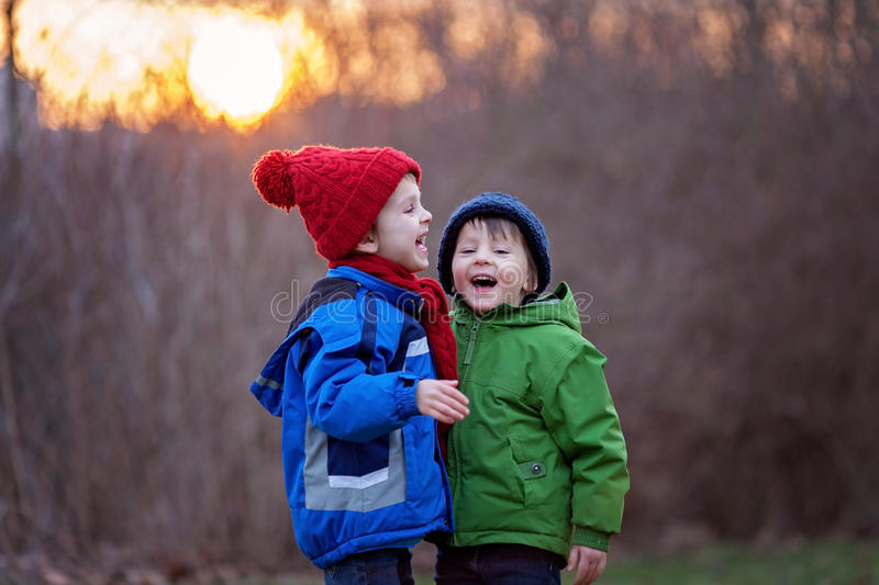 Portrait of two adorable boys, brothers, on a winter day, sunset stock photo