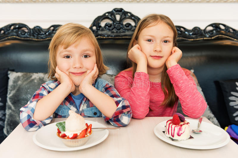 Portrait of two adorable kids stock photo
