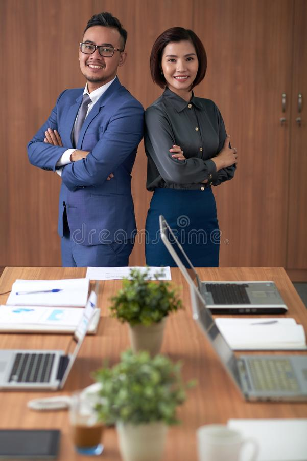Asian successful business partners stock photography