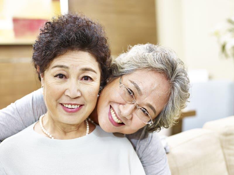 Portrait of two asian senior women stock photography
