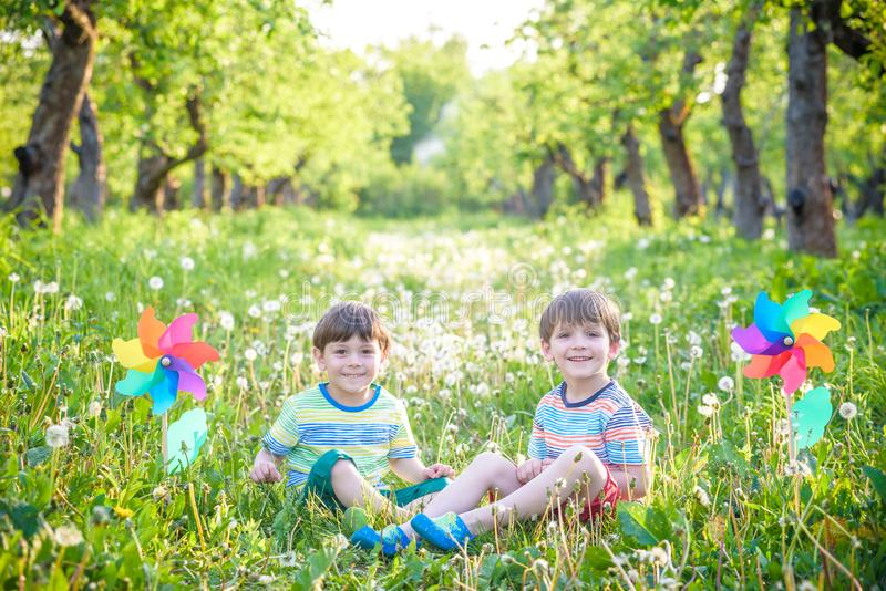 Portrait of two boys, siblings, brothers and best friends smilin stock photo