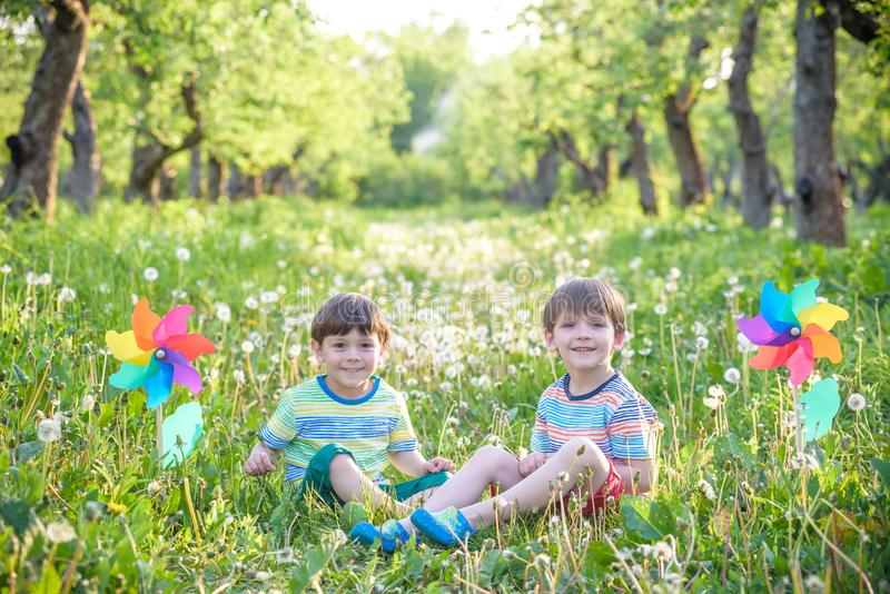 Portrait of two boys, siblings, brothers and best friends smiling. Friends hugging. royalty free stock photos