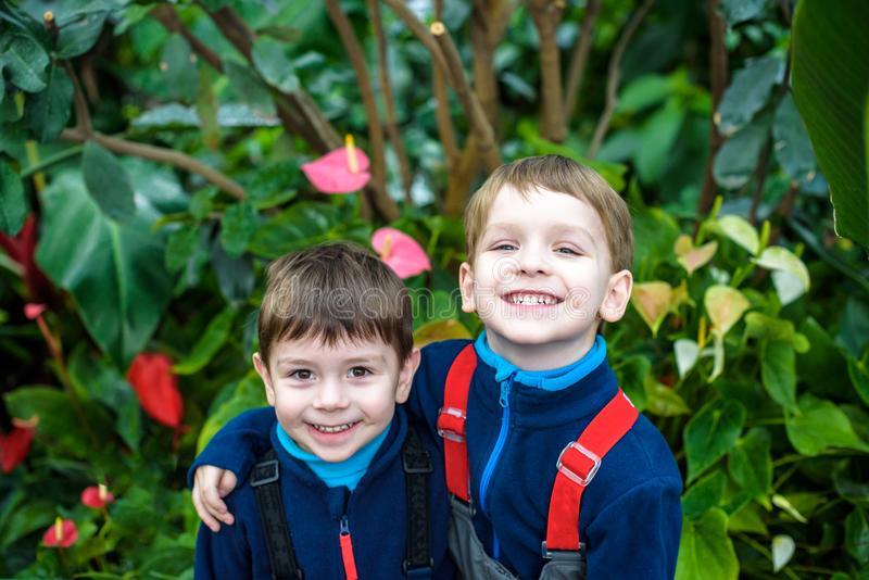 Portrait of two boys, siblings, brothers and best friends smiling. Friends hugging. stock image