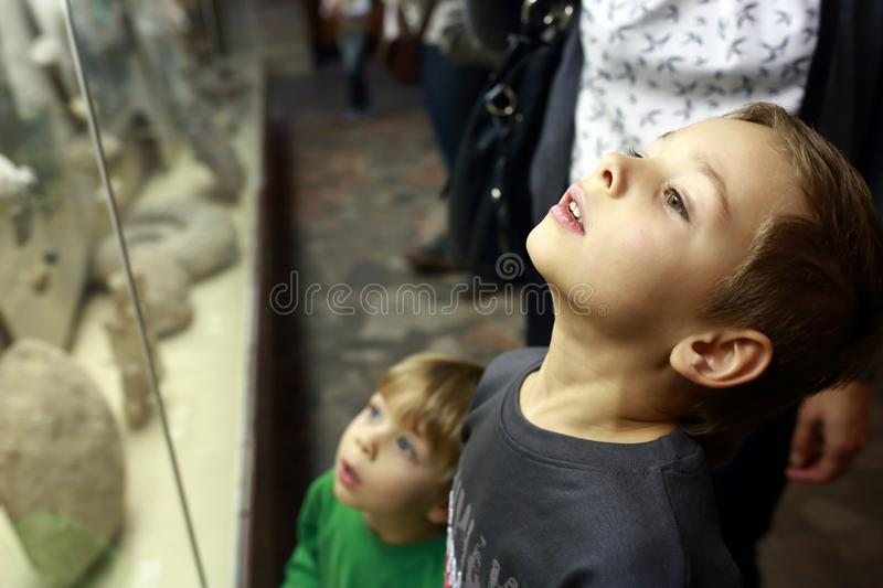 Two brothers in museum royalty free stock photography