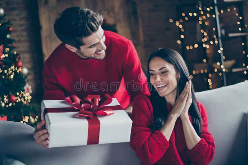 Portrait of two brunet haired romantic couple give new year christmas x-mas present to his lady sit on divan couch in. Portrait of two brunet haired, romantic stock image
