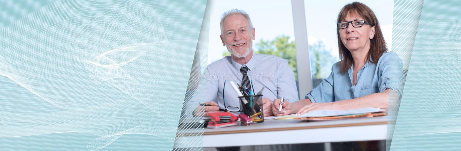Portrait of two business people working together. panoramic banner stock photos