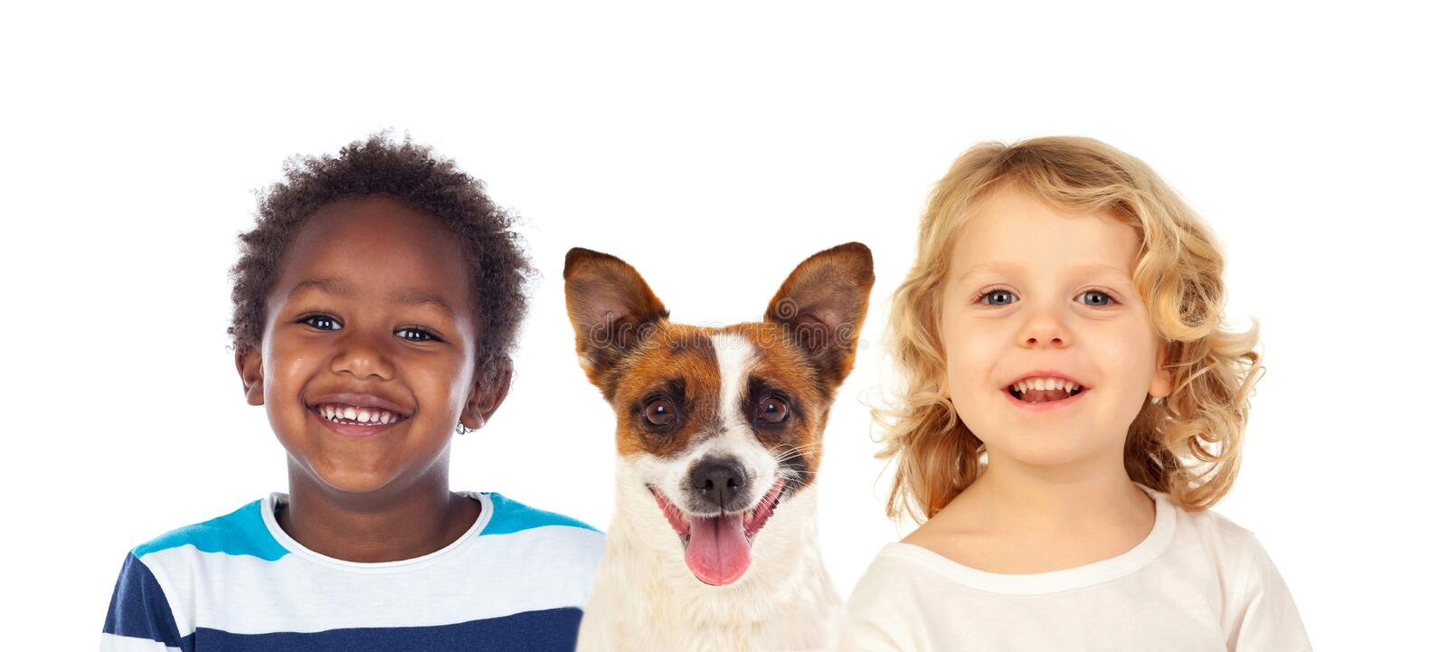 Portrait of two children with a dog stock photos