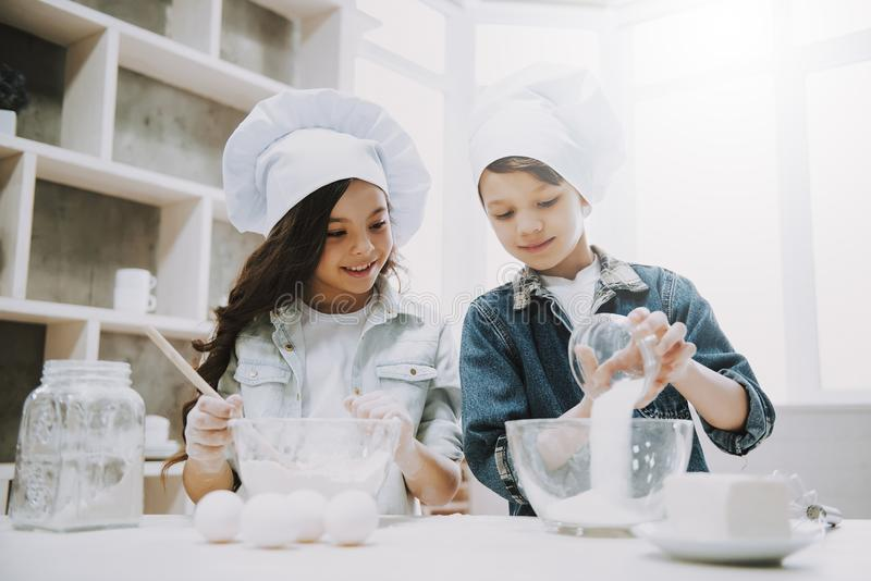Portrait of Two Cute Children Cooking at Kitchen stock images