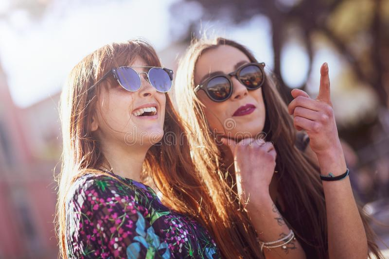 Portrait of two friends spending free time stock photography