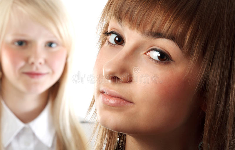 Download Portrait two girls stock image. Image of smiling, face - 17017129
