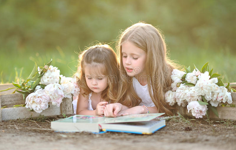 Portrait of two girls of girlfriends royalty free stock photo