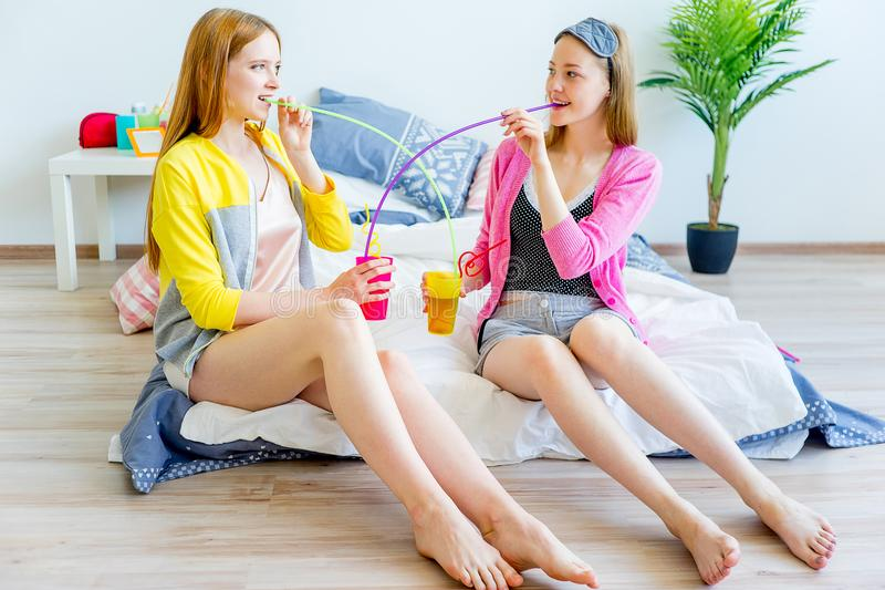 Girls at a sleepover royalty free stock image
