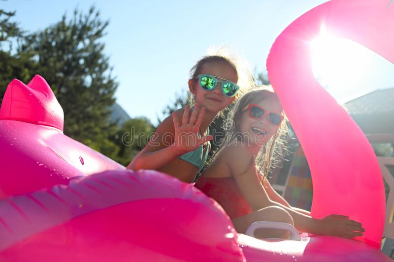 Portrait of two girls wearing sunglasses, happy friends on inflatable flamingo swim float stock image