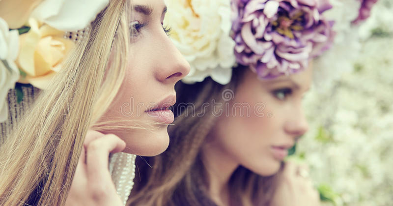 Portrait of the two gorgeous ladies with flowers. Portrait of the two gorgeous ladies with wild flowers royalty free stock photo