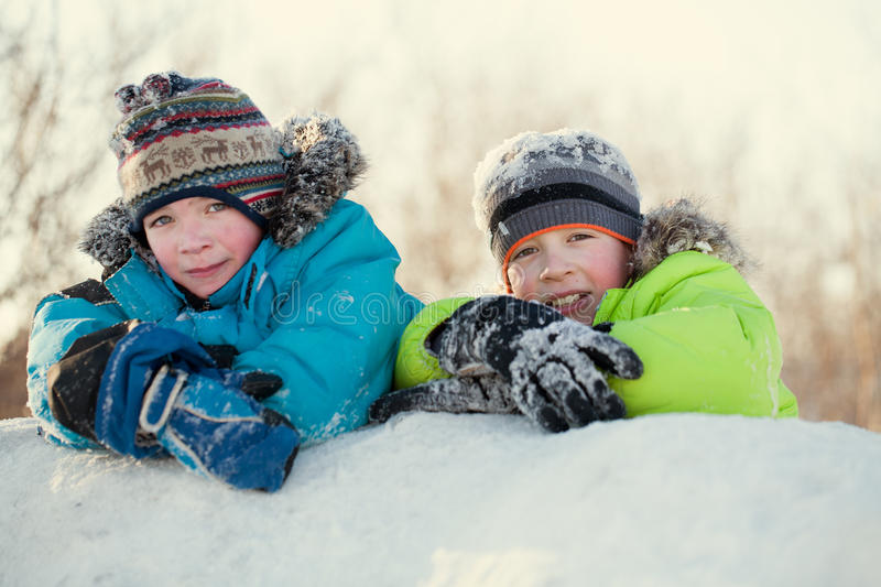 Portrait of two happy brothers in winter clothes stock image
