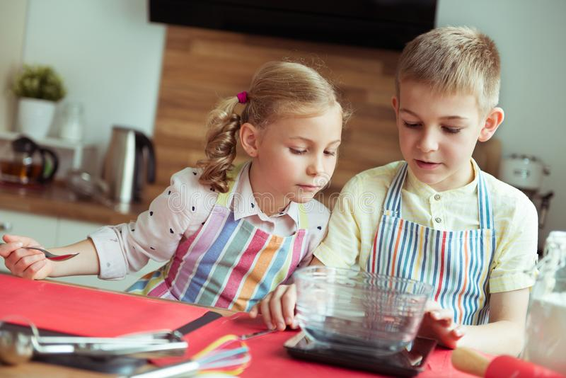 Portrait of two happy children having fun during cooking christmas cookies at kitchen royalty free stock photos