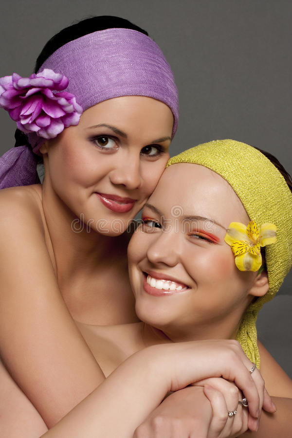 Portrait of two happy girls stock photo