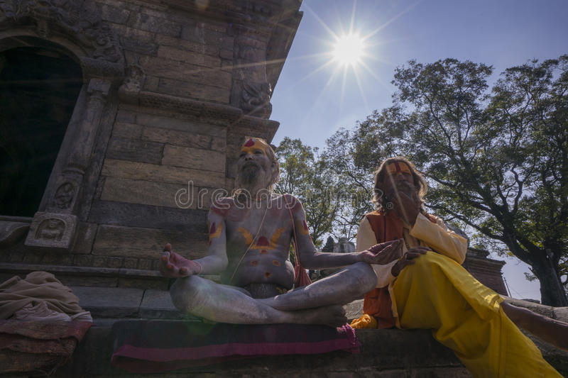 Portrait of two holy man in Pashupatinath Temple . royalty free stock photos