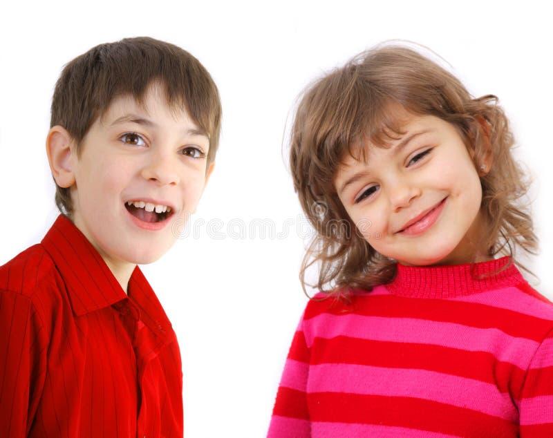 Portrait of two kids stock photo