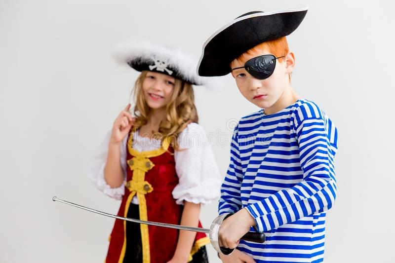 Kids in a pirate costume stock photography
