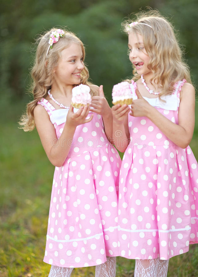 Portrait of two little girls royalty free stock image