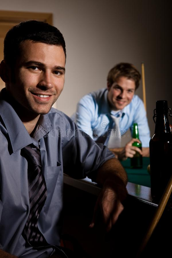 Portrait of two men at snooker royalty free stock image