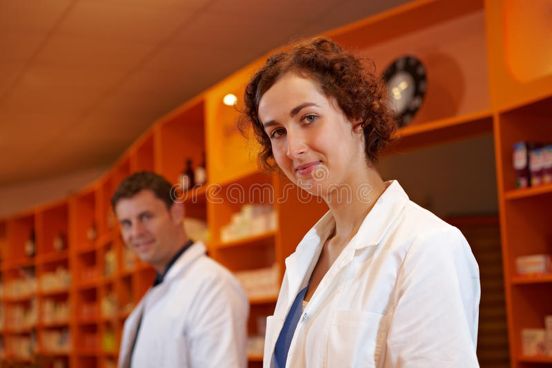 Portrait of two pharmacists stock photo