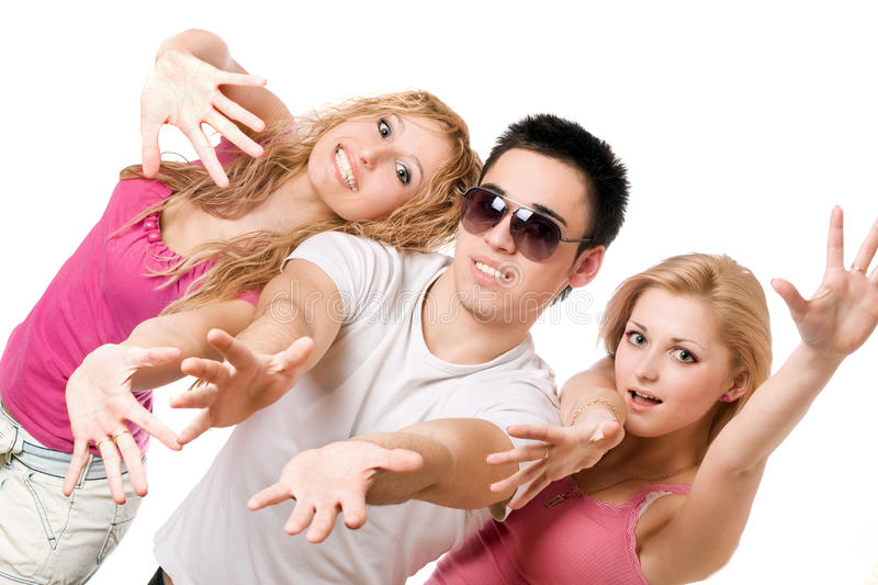 Download Portrait Of Two Playful Blonde With Young Man Stock Photo - Image: 17044870