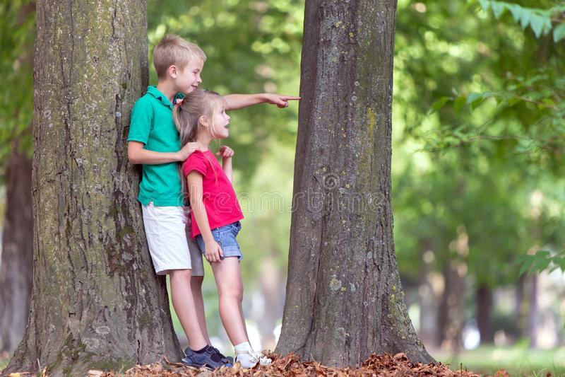 Portrait of two pretty cute children boy and girl standing near big tree trunk in summer park outdoors stock images