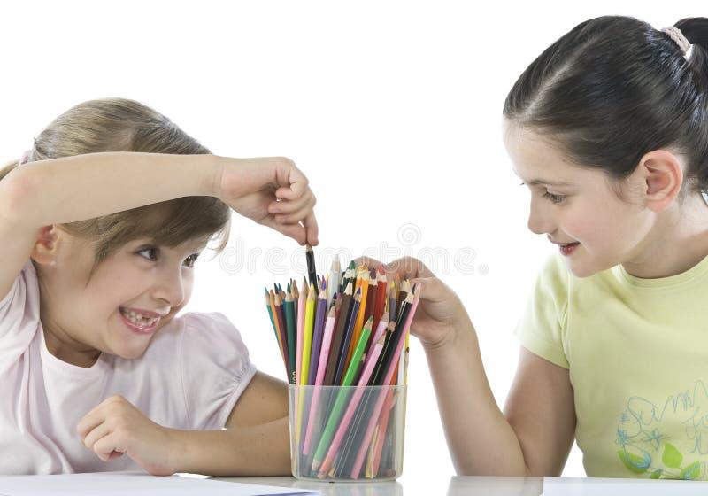 Portrait Of Two Schoolchildren Stock Photos